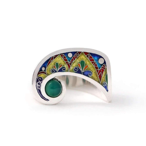 Moon Shape Ring With Chrysoprase Stone ,[product vendor],JewelStreet