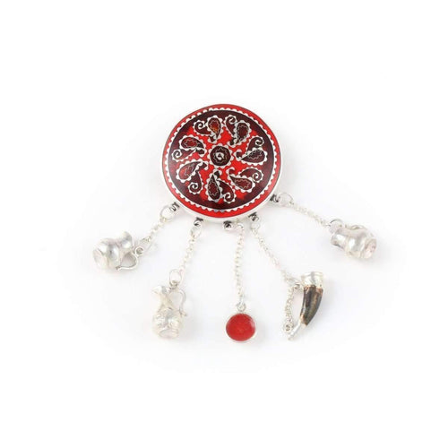 Red Brooch with Georgian Traditional Elements ,[product vendor],JewelStreet