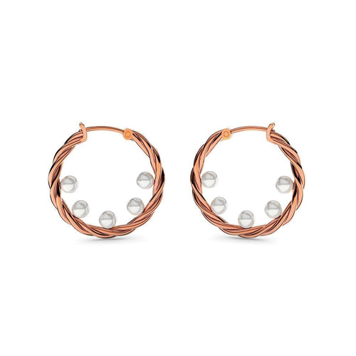 Rose Gold Twisted Pearl Earrings ,[product vendor],JewelStreet