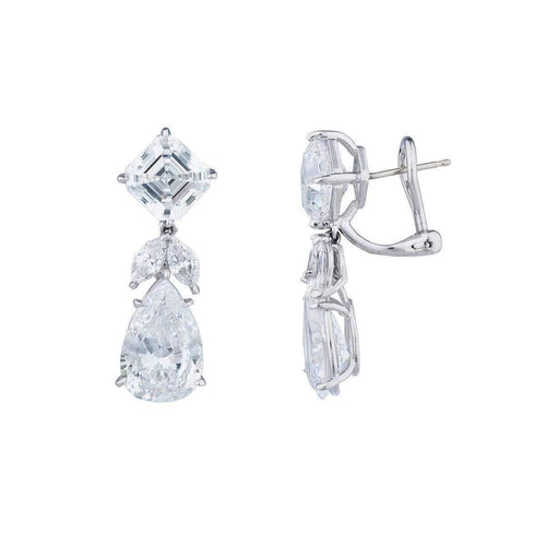 Sterling Silver & Palladium 18kt Asscher & Pearshape Drop Earrings ,[product vendor],JewelStreet