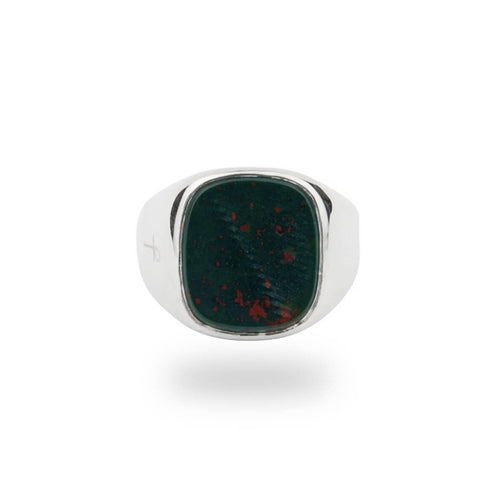 Jamestown Green Bloodstone Silver Ring ,[product vendor],JewelStreet