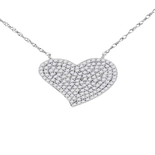 Diamond Heart Cluster Necklace In White Gold ,[product vendor],JewelStreet