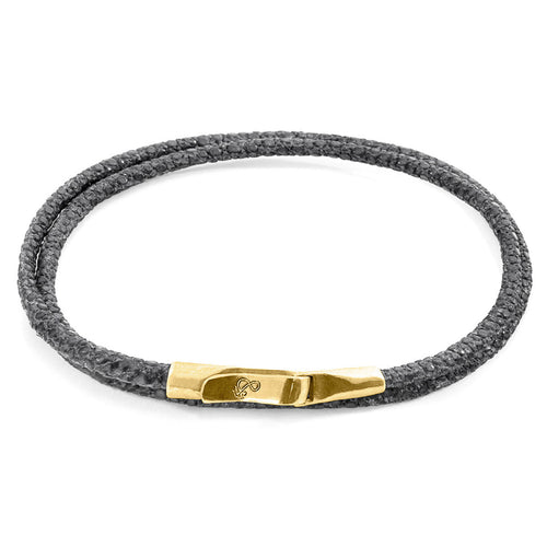 Shadow Grey Liverpool 9ct Yellow Gold and Stingray Leather Bracelet ,[product vendor],JewelStreet