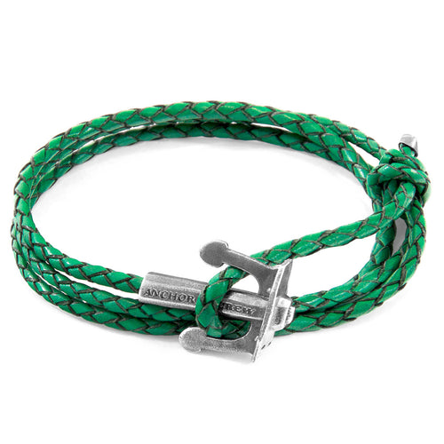 Fern Green Union Anchor Silver and Braided Leather Bracelet ,[product vendor],JewelStreet