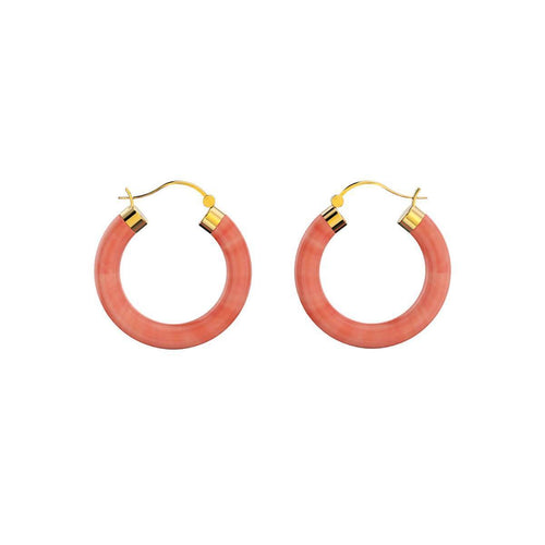 Yellow Gold Plated Sterling Silver Coral Earrings ,[product vendor],JewelStreet