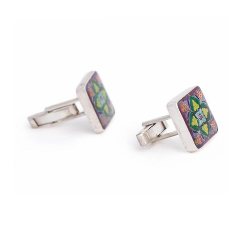 Sterling Silver Cufflinks With Cloisonné Enamel ,[product vendor],JewelStreet