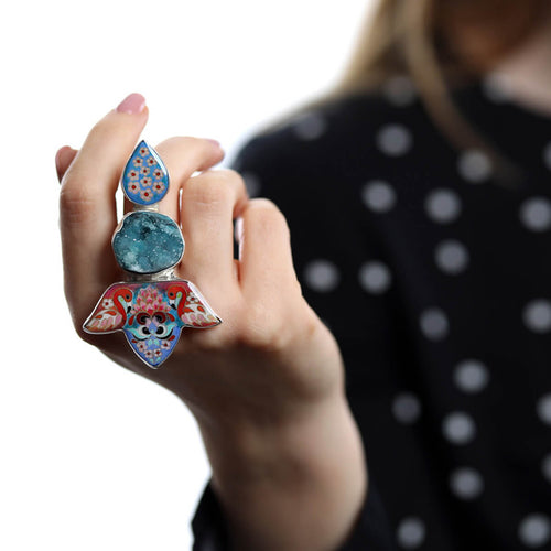 Sterling Silver Druzy Flamingos Ring With Cloisonné Enamel ,[product vendor],JewelStreet