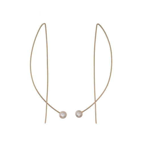 14kt Gold-fill Long Wire Pearl Earrings ,[product vendor],JewelStreet