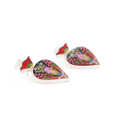 Frida Inspired Sterling Silver Statement Earrings with Cloisonné Enamel ,[product vendor],JewelStreet