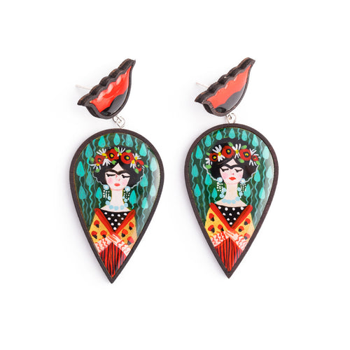 Frida Inspired Wooden Earrings ,[product vendor],JewelStreet
