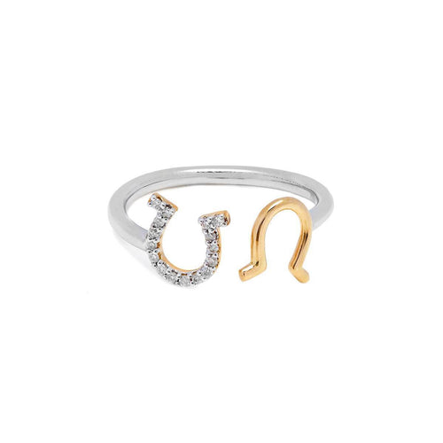 Yellow Gold & Silver Diamond Open Horseshoe Ring | Kaizarin ,[product vendor],JewelStreet