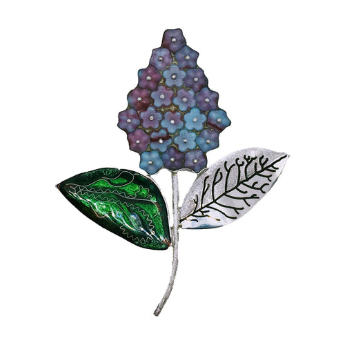Sterling Silver Lilac Flower Brooch With Cloisonné Enamel ,[product vendor],JewelStreet
