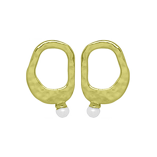 Gold & White Pearl Riveria Stud Earrings ,[product vendor],JewelStreet