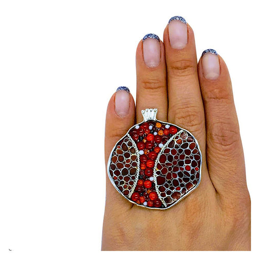 Sterling Silver Pomegranate Statement Ring With Cloisonné Enamel ,[product vendor],JewelStreet
