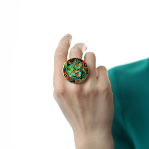 Gold Plated Sunshine Poppies Ring from Sterling Silver with Cloisonné Enamel ,[product vendor],JewelStreet