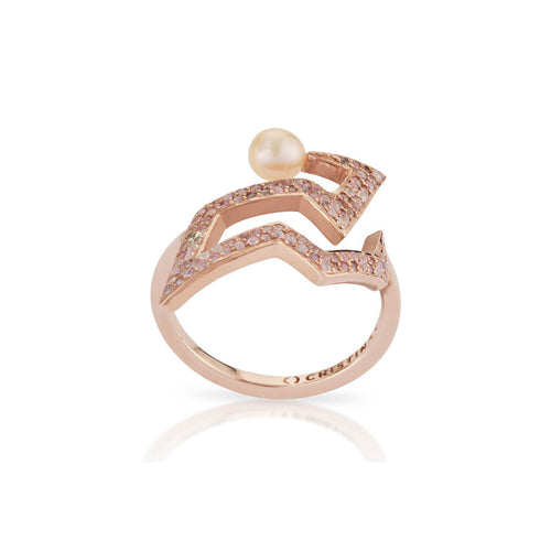 Rose Gold Plated Snaketric Edgy Ring ,[product vendor],JewelStreet