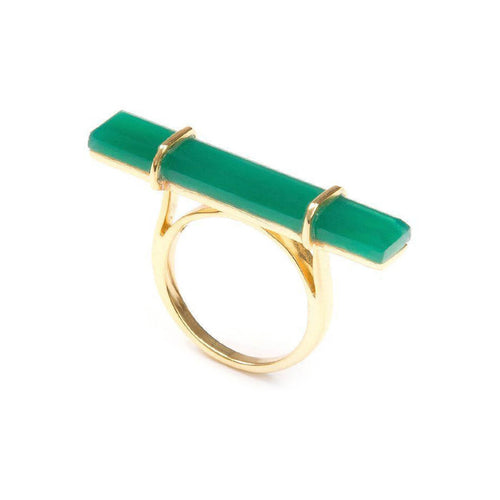 18kt Yellow Gold Vermeil Urban Bar Ring With Green Onyx ,[product vendor],JewelStreet