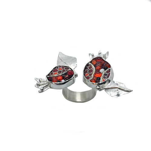 Sterling Silver, Cloisonné Enamel, & Melted Glass Ring With Two Pomegranates ,[product vendor],JewelStreet