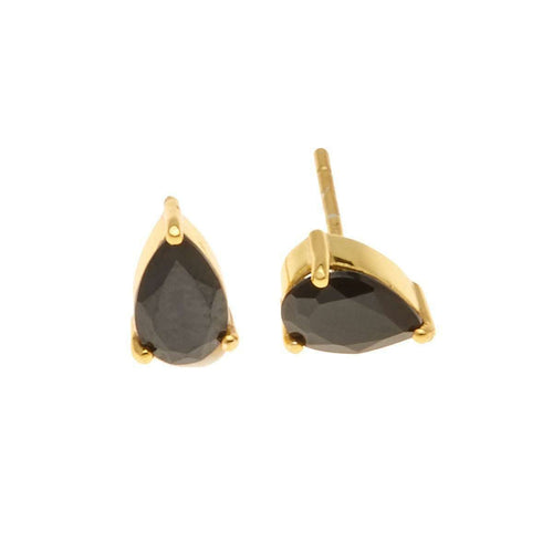 Gold On Point Earrings With Black Spinel-Silk And Steel-JewelStreet US