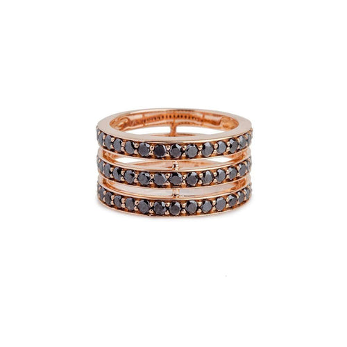 3 Rows Spacer Ring In Pink Gold And Black Diamonds-Bochic-JewelStreet US