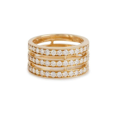 3 Rows Spacer Diamond Ring In Yellow Gold-Bochic-JewelStreet US