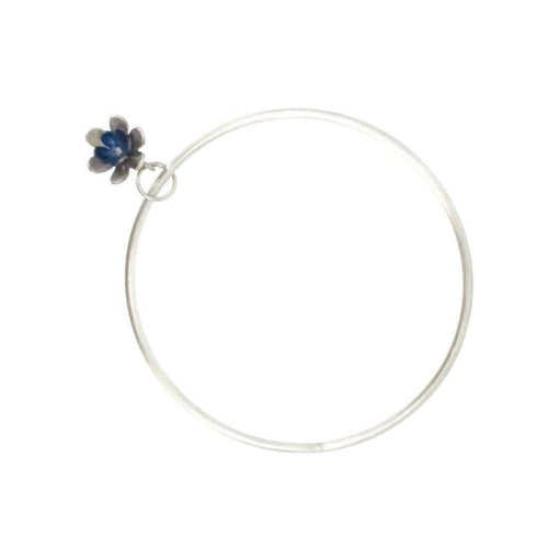 Forget-me-not double Flower Charm Bangle-Sian Bostwick Jewellery-JewelStreet US