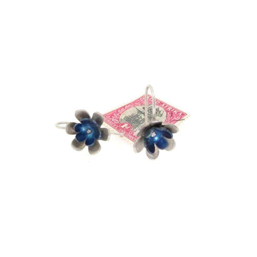 Forget-me-not double Flower Drop Earrings-Sian Bostwick Jewellery-JewelStreet US