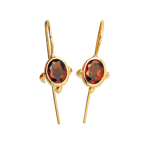 18kt Yellow Gold Sputnik Engine Set Hook Earrings With Garnet ,[product vendor],JewelStreet