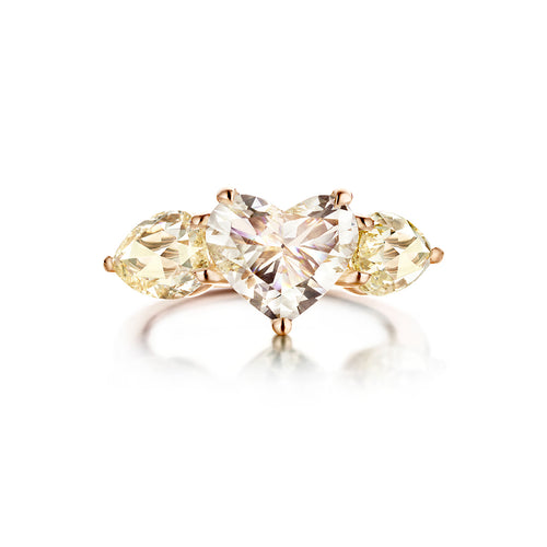 18kt Rose Gold Chichiponpon Ring With Heart Shape Diamond Centerstone ,[product vendor],JewelStreet