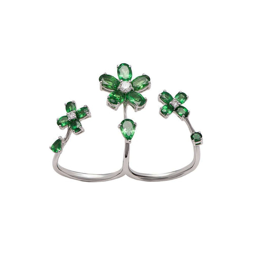 Iris Double Flower Ring-Stefere Limited-JewelStreet US