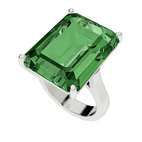 Hydrothermal Emerald Cut Silver Cocktail Ring-StyleRocks-JewelStreet US