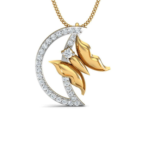 Swallowtail Butterfly Carved Pendant in 18kt Yellow Gold-Diamoire Jewels-JewelStreet US