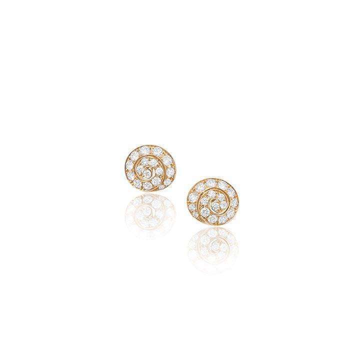 18kt Rose Gold Swirl Diamond Earrings-Soley London-JewelStreet US