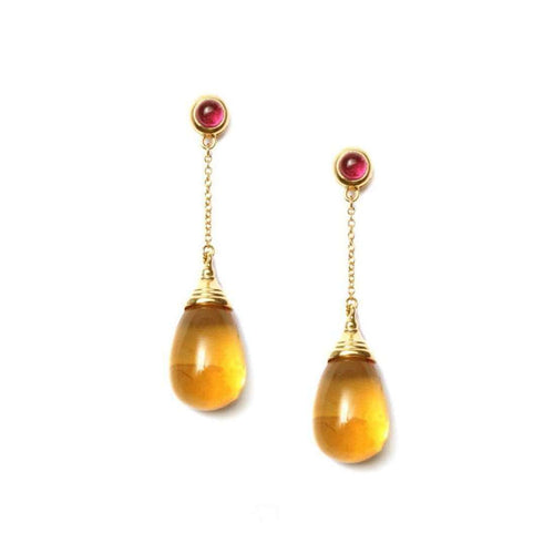 18kt Citrine Drop Earrings With Rubellite-Syna-JewelStreet US