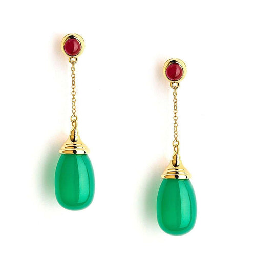 18kt Green Chalcedony & Ruby Earrings-Syna-JewelStreet US