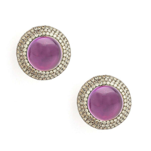18kt Amethyst Earrings With Champagne Diamonds-Syna-JewelStreet US
