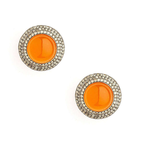 18kt Orange Chalcedony Earrings With Champagne Diamonds-Syna-JewelStreet US