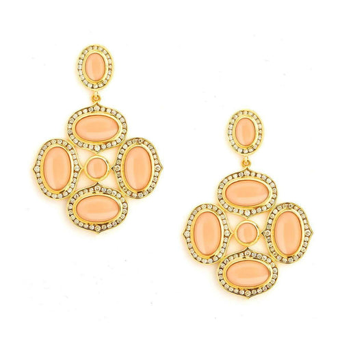 18kt Peach Moonstone Earrings With Champagne Diamonds-Syna-JewelStreet US
