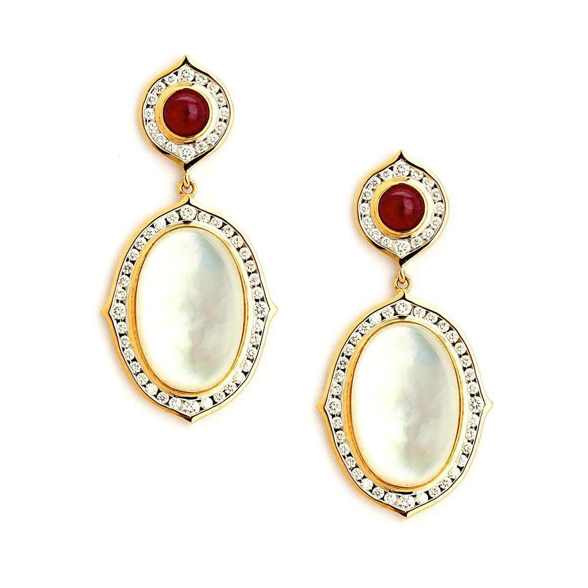 18kt Moon Quartz & Ruby Earrings With Diamonds-Syna-JewelStreet US