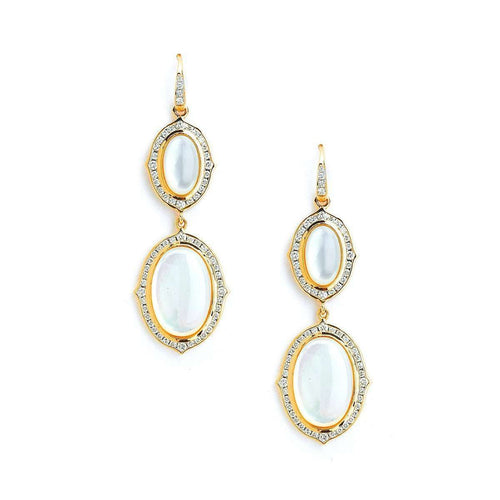 18kt Moon Quartz & Diamond Earrings-Syna-JewelStreet US