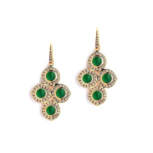 18kt Emerald & Champagne Diamond Earrings-Syna-JewelStreet US