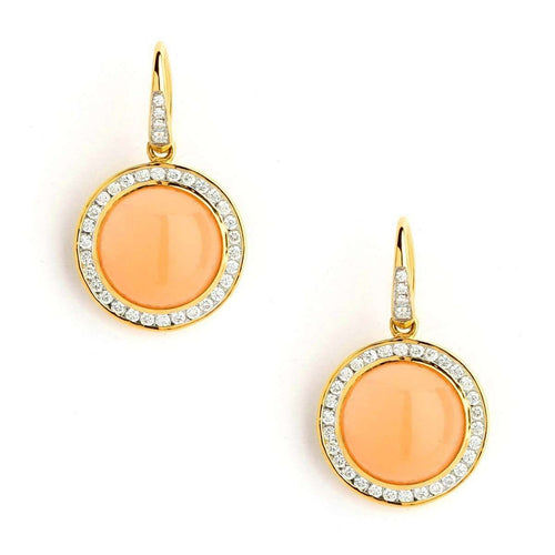 18kt Peach Moonstone Earrings With Diamonds-Syna-JewelStreet US