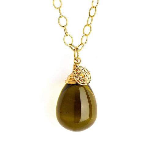 18kt Plus Smoky Quratz Drop Necklace-Syna-JewelStreet US