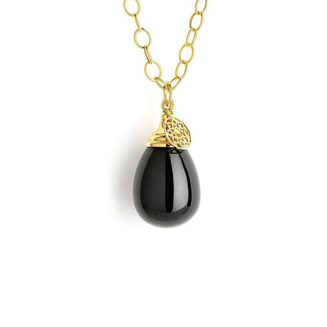 18kt Black Spinel Drop Necklace on 18kt Chain-Syna-JewelStreet US