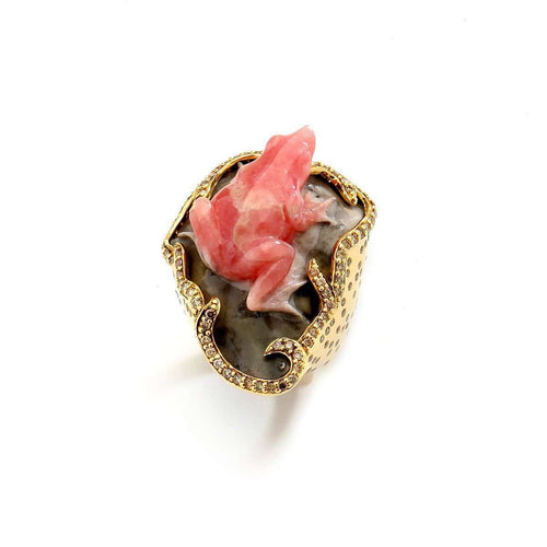 18kt Rhodocrosite Frog Ring With Champagne Diamonds