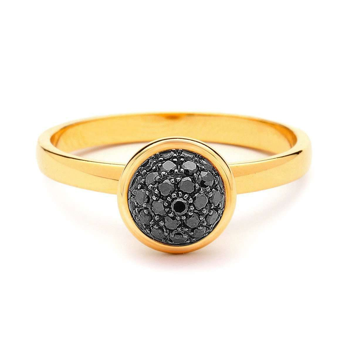 18kt Small Black Diamond Bauble Ring-Syna-JewelStreet US