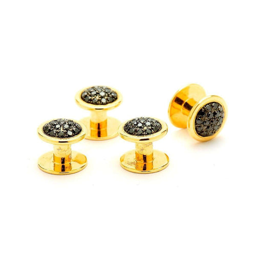 18kt Black Diamond Men's Stud Set-Syna-JewelStreet US