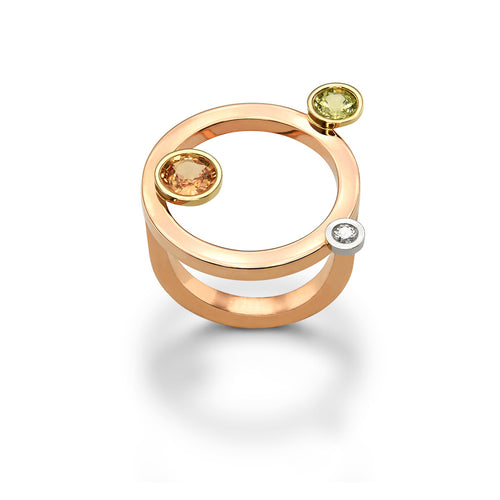 14kt Rose Gold Taurus Ring With Diamond & Sapphires  ,[product vendor],JewelStreet