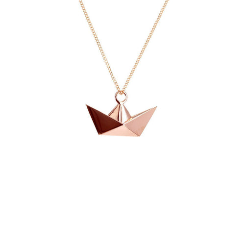 Sterling Silver & Pink Gold Mini Boat Origami Necklace