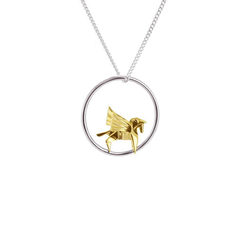 Sterling Silver & Gold Pegaze Circle Origami Necklace